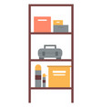 workshop shelf with boxes toolbox sign vector image
