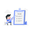 young man with to do list vector image