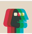 abstract color men face overlap vector image
