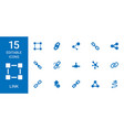 15 link icons vector image vector image