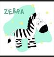 a zebra on white vector image