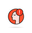 anxiety or panic logo with linear man vector image