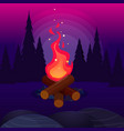 bonfire with sparks in night forest vector image vector image