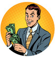 businessman counts money pop art avatar character vector image vector image