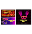 carnival mask banner concept set realistic style vector image vector image