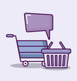 cart and basket shopping and icons finance vector image vector image
