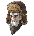cartoon angry pale devil man in fur winter hat vector image vector image