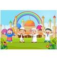 Cartoon happy kid muslim with rainbow vector image vector image