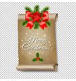 christmas old paper banner transparent background vector image vector image