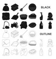 cleaning and maid black icons in set collection vector image vector image