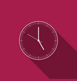 clock icon isolated with long shadow time icon vector image vector image