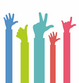 Colors hands up vector image
