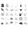 country scotland monochromeoutline icons in set vector image vector image