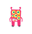 cute pink cartoon monster fabulous incredible vector image vector image