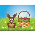 Easter Bunny with Eggs in the Basket4 vector image vector image