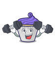 fitness blueberry cupcake character cartoon vector image