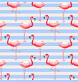 flamingo exotic bird striped seamless pattern vector image vector image