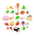 food on the street icons set isometric style vector image