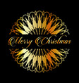 golden snowflake pattern and merry christmas vector image