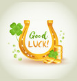good luck golden horseshoe with lucky clover vector image
