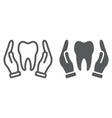 hands holding tooth line and glyph icon vector image
