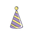 happy birthday striped party hat decoration vector image vector image