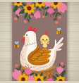 Happy easter card with chicken family and flowers