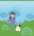 happy girl and dog with toy in park pet care vector image