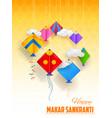 happy makar sankranti wallpaper with colorful kite vector image vector image
