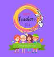 happy teachers day purple vector image