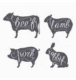 Hipster style farm animals silhouetts vector image