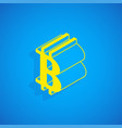 isometric cryptocurrency bitcoin sign vector image vector image