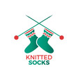 knitted socks logo vector image