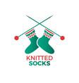 knitted socks logo vector image vector image