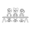 line children student sitting in the wood desk vector image vector image