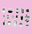 love coffee drink sticker set element vector image vector image