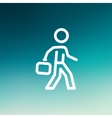 Man walking with briefcase thin line icon vector image vector image