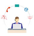 Man working in a call center Support service vector image vector image