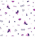 memphis pattern with purple high heel shoes pink vector image vector image