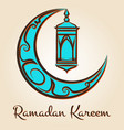 moon and lamp ramadan kareem emblem vector image