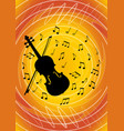 musical flyer design with black violin silhouette vector image vector image