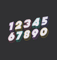 number set 3d bold modern typography vector image vector image