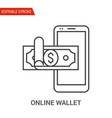 online wallet icon thin line vector image vector image