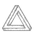 penrose impossible tribar triangle sketch vector image