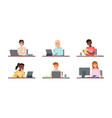 people sitting with laptops students use gadgets vector image