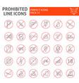 prohibited thin line icon set warning symbols vector image vector image
