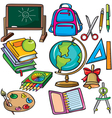 School accessories icons set vector image vector image