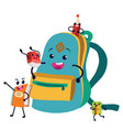 school supplies colorful poster funny bag vector image
