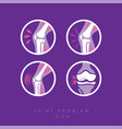 set icons joints treatment arthritis pain relief vector image