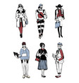 set stylish people with gadgets at street vector image vector image